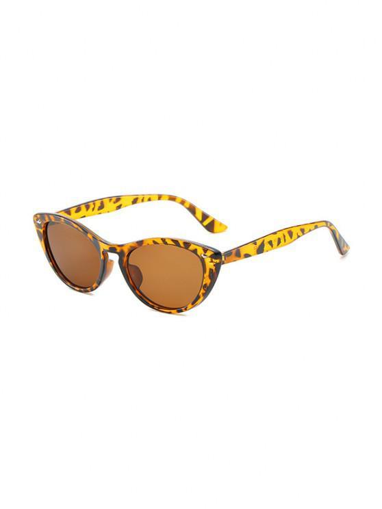 trendy Rivet Catty Eye Travel Sunglasses - CARAMEL