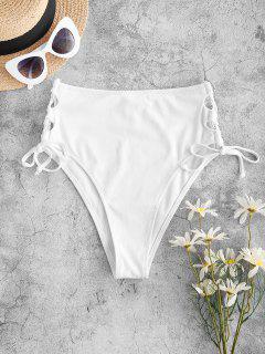 ZAFUL Ribbed Lace Up High Leg Bikini Bottom - White M