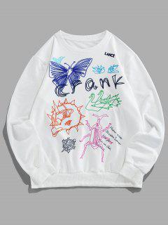 ZAFUL Sweat-shirtDécontractéMotif De Papillon à Col Rond - Blanc Xl
