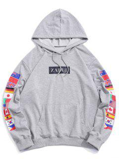 Flag Print Front Pocket Pullover Hoodie - Light Gray S