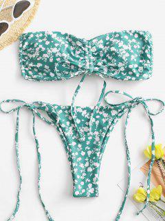 ZAFUL Bikini Fruncido De Corte Alto Con Estampado De Flor - Verde M