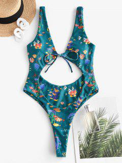 ZAFUL Marine Organism Print High Cut Thong One-piece Swimsuit - Deep Green S