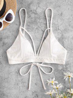 ZAFUL Ribbed Cutout Tie Back Bikini Top - White M