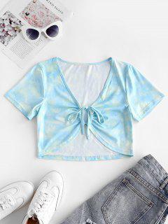 T-shirt Court Teinté Noué à Cordon - Ardoise Légère S