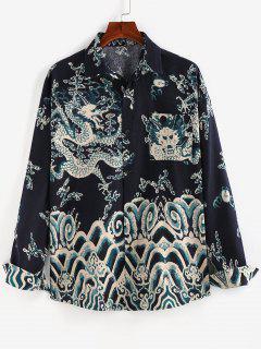 ZAFUL Oriental Dragon Print Pocket Patch Shirt - Deep Blue 2xl