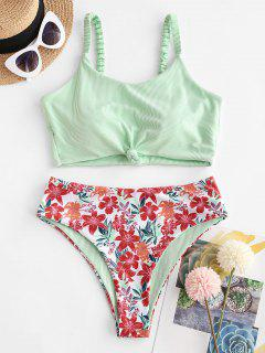 ZAFUL Ribbed Flower Print Knotted Tankini Swimwear - Light Green S