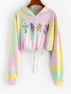 Tie Dye Flower Print Drawstring Crop Hoodie - Light Purple S