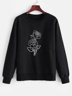 Crew Neck Rose Print Sweatshirt - Black M