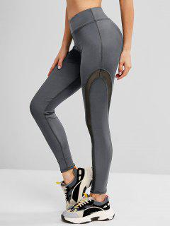 Mesh Panel Topstitch High Waisted Gym Leggings - Gray M
