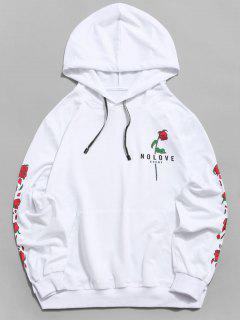 Cangurul Buzunar Floare De Imprimare Grafic Hoodie - Alb Xl