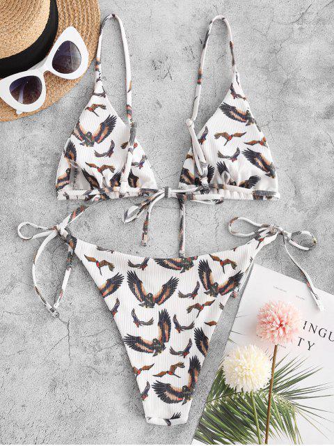 lady ZAFUL Eagle Print Ribbed String Bikini Swimwear - DEEP COFFEE M Mobile