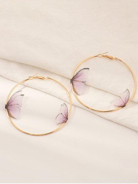 Boucles d'Oreilles Crochets Motif Papillon 3D - Rose clair  Mobile