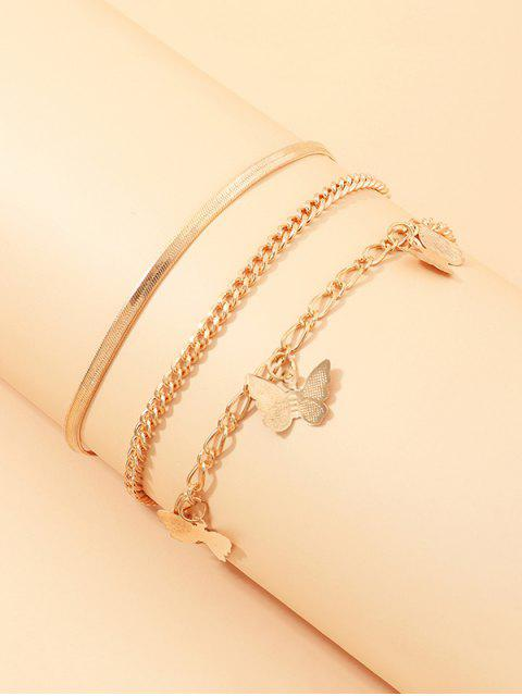 affordable 3Pcs Butterfly Chain Anklets Set - GOLDEN  Mobile