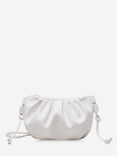 women's Pure Color Pleated Leather Sling Bag - WHITE  Mobile