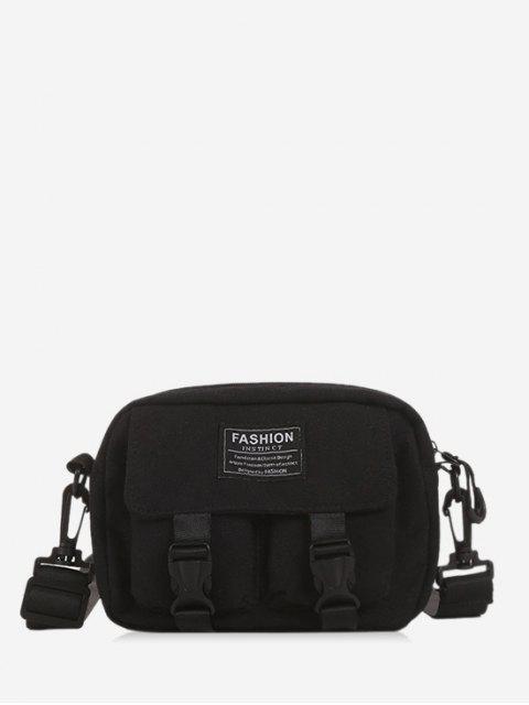 best Multi-pockets Canvas Mini Crossbody Bag - BLACK  Mobile