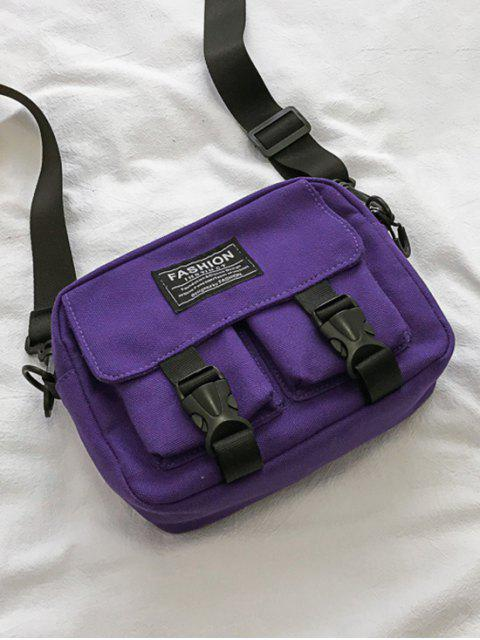 online Multi-pockets Canvas Mini Crossbody Bag - PURPLE  Mobile