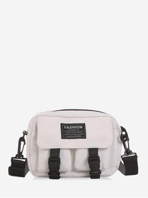 hot Multi-pockets Canvas Mini Crossbody Bag - WHITE  Mobile