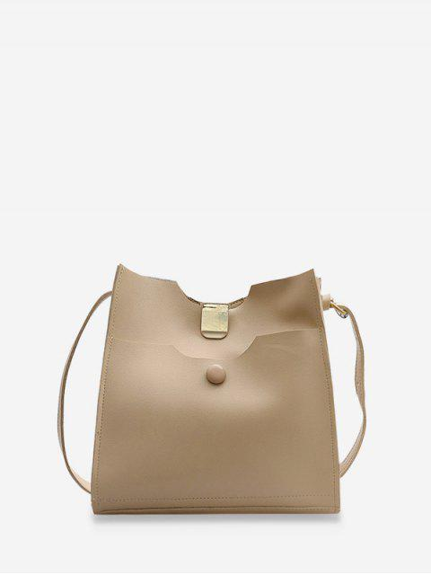 women's Pure Color Leather Sling Bucket Bag - LIGHT COFFEE  Mobile