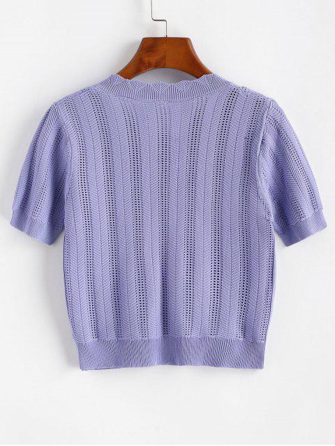 T-Shirt in Maglia Ricamata con Bottoni Anteriori - Viola chiaro Taglia unica Mobile