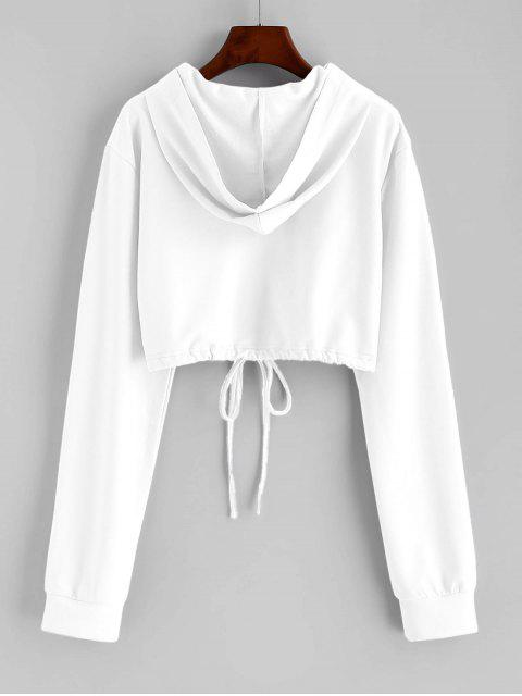 affordable Flower Print Drawstring Pullover Crop Hoodie - WHITE M Mobile