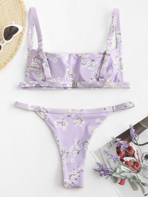 chic ZAFUL Ribbed Flower High Leg Bikini Swimwear - PURPLE L Mobile