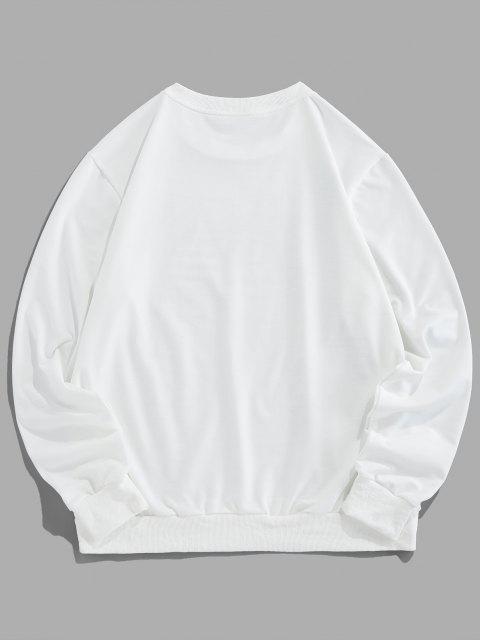 ZAFUL Schmetterling Tier Graffiti Rundhalsausschnitt Lounge Sweatshirt - Weiß M Mobile