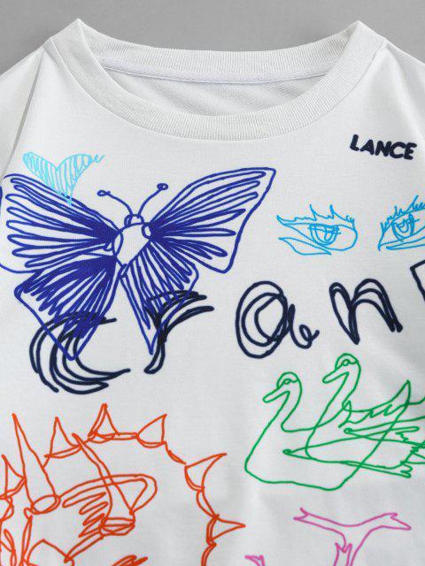 ZAFUL Sweat-shirtDécontractéMotif de Papillon à Col Rond - Blanc XL Mobile