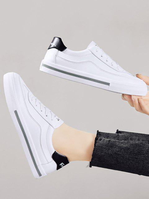 shops PU Leather Casual Low Top Skate Shoes - BLACK EU 37 Mobile