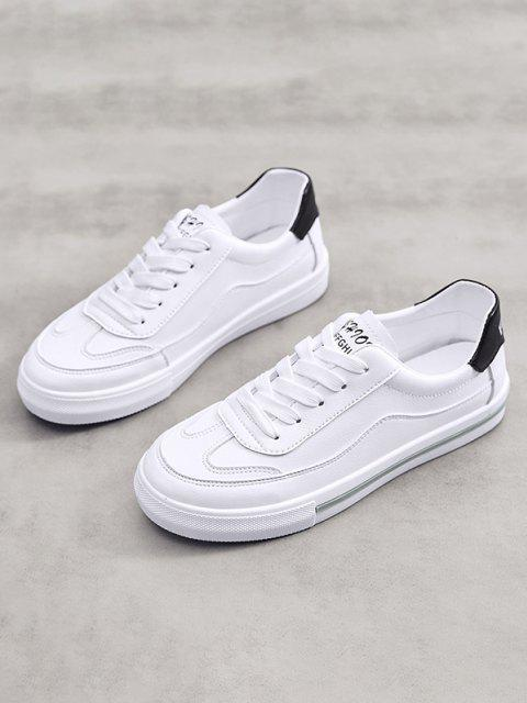 trendy PU Leather Casual Low Top Skate Shoes - BLACK EU 39 Mobile
