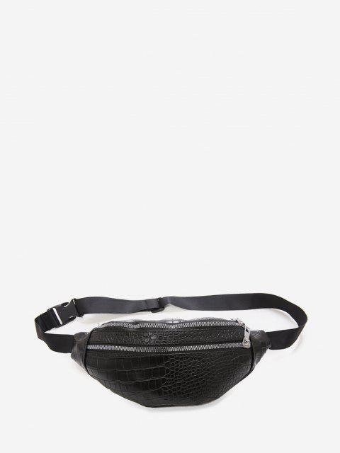 outfit Animal Embossed Leather Chest Bag - BLACK  Mobile