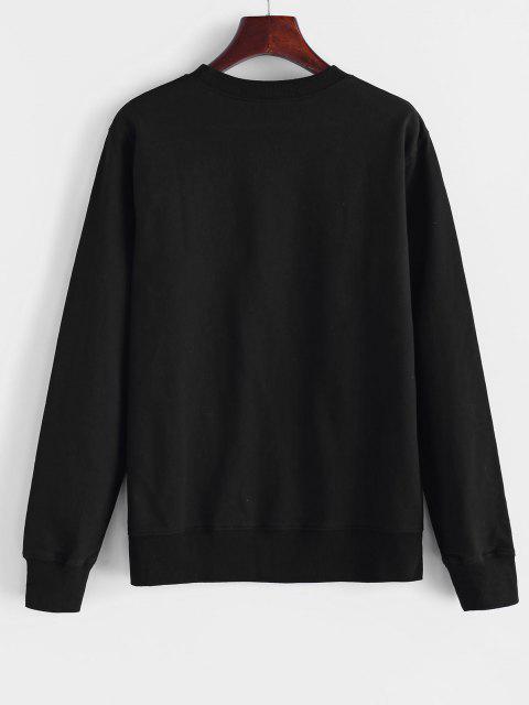 new Crew Neck Sunflower Print Sweatshirt - BLACK S Mobile