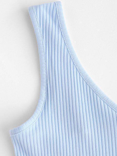 Haut Court Côtelé en Couleur Unie à Col V - Bleu Poudre XS Mobile