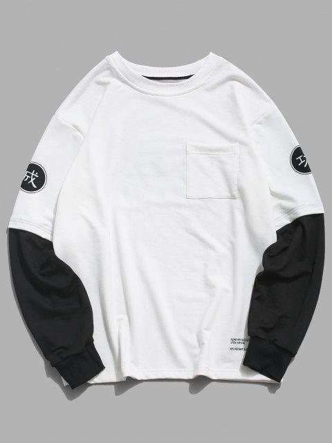 online Chinese Characters Graphic Pocket Doctor Sleeve Casual Sweatshirt - WHITE 2XL Mobile