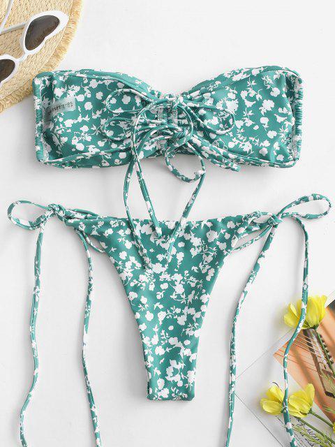 ZAFUL Bikini Fruncido de Corte Alto con Estampado de Flor - Verde S Mobile