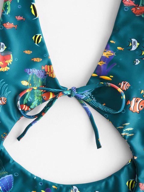 Costume Intero di ZAFUL Floreale con Taglio Alto - Verde intenso L Mobile