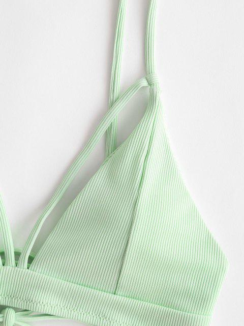 women ZAFUL Ribbed Cutout Tie Back Bikini Top - LIGHT GREEN S Mobile