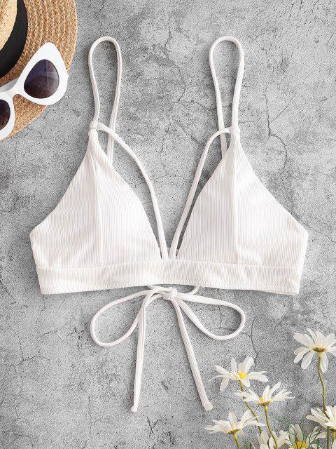 ZAFUL Bikini Top Recortado Acanalado con Nudo y Nudo - Blanco S Mobile