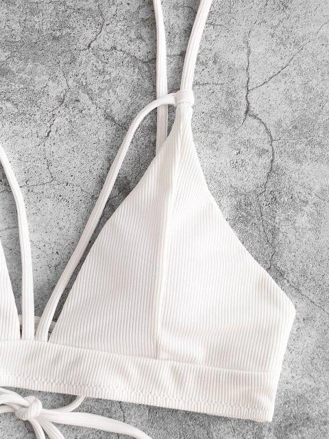 trendy ZAFUL Ribbed Cutout Tie Back Bikini Top - WHITE M Mobile