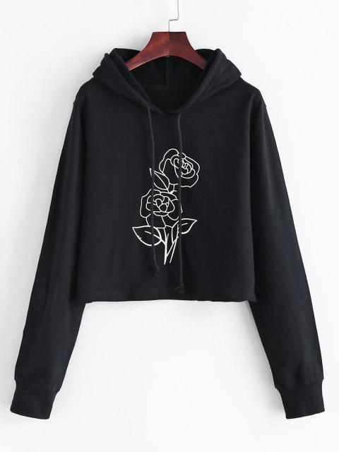 lady Boxy Rose Print Hoodie - BLACK XL Mobile