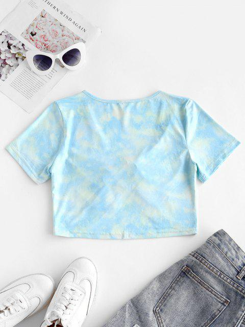 new Drawstring Knot Tie Dye Cropped Tee - LIGHT SLATE M Mobile
