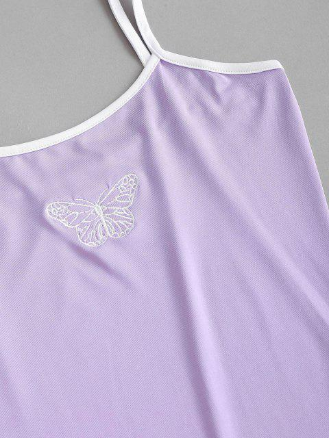 outfits Cami Butterfly Embroidered Ringer Bodysuit - MAUVE S Mobile