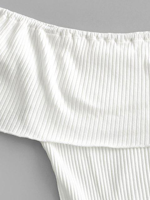 trendy ZAFUL Overlay Flounces Off Shoulder Ribbed Bodysuit - WHITE S Mobile