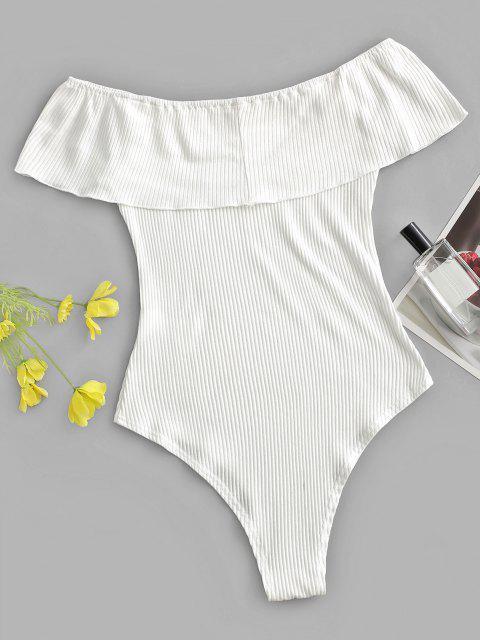 ZAFUL Body Côtelé Superposé à Epaule Dénudée à Volants - Blanc L Mobile