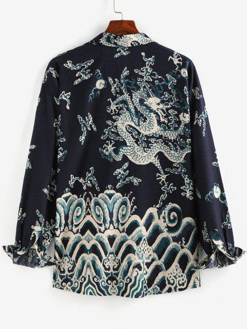 women's ZAFUL Oriental Dragon Print Pocket Patch Shirt - DEEP BLUE S Mobile