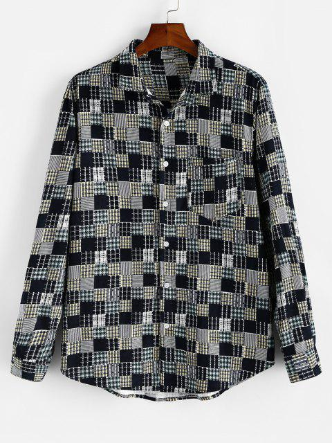 outfit Plaid Pattern Pocket Patchwork Shirt - LIGHT YELLOW 2XL Mobile