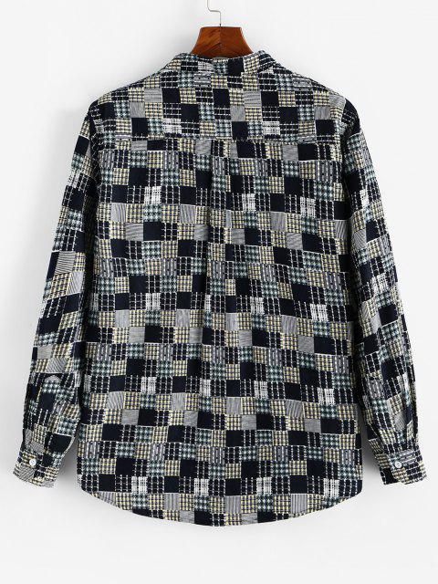 women Plaid Pattern Pocket Patchwork Shirt - LIGHT YELLOW 3XL Mobile