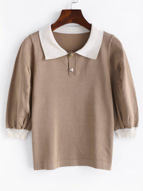 fashion Puff Sleeve Colorblock Knit Top - LIGHT COFFEE ONE SIZE Mobile