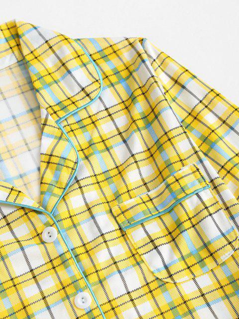 chic Lapel Plaid Pocket Pajama Pants Set - YELLOW XL Mobile