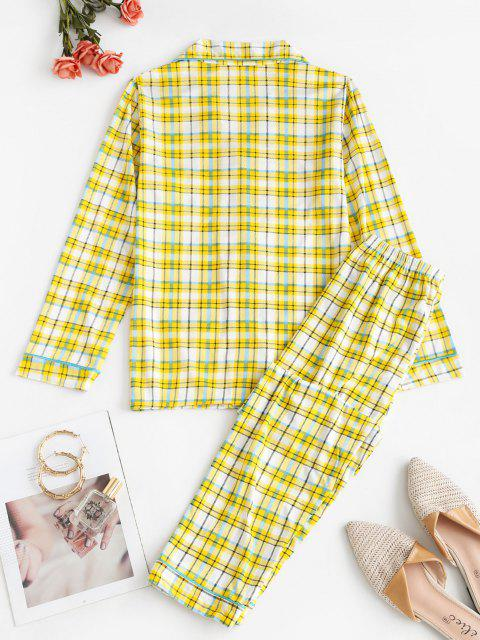 fashion Lapel Plaid Pocket Pajama Pants Set - YELLOW L Mobile