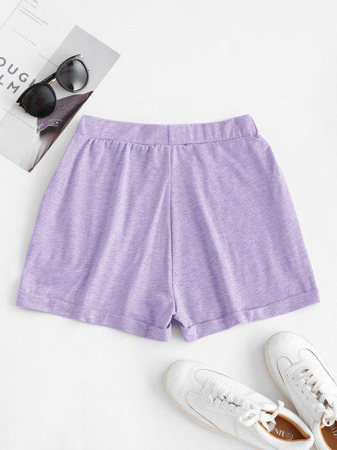 sale ZAFUL Pull On Pocket Cuffed Shorts - LIGHT PURPLE XL Mobile